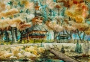 Autumn In Pylypets Village, 2009, watercolour on watman, 48х67