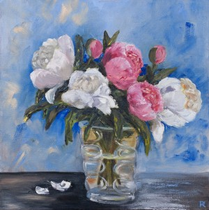 'Peonies', 2018, oil on canvas