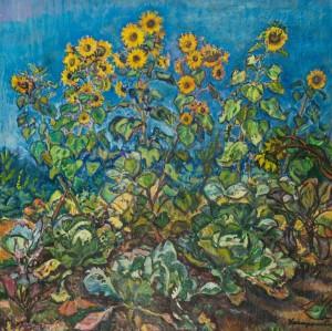 Соняшники на городі, п.о. 100х101