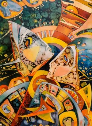 Кузьма В. 'Розмова двох', 2016, скло,о. V. Kuzma 'Conversation Of Two', 2016 oil on glass