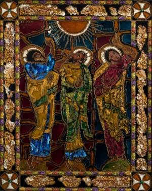 Ascension, 2008, glass, paint on glass, authors technique