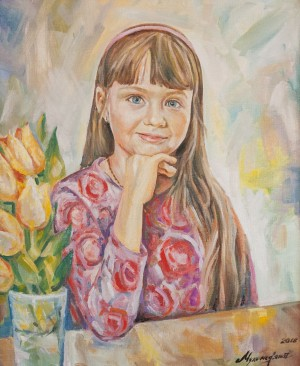 A. Mukhomedianov 'Portrait Of Granddaughter', 2018, oil on canvas