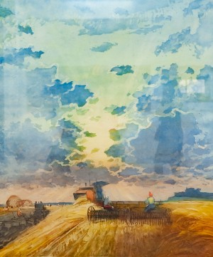 V. Myronenko 'On The Collective Farms Of Ukraine', 1960, coloured etchning on paper, aquatint