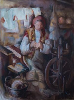 Прядильниця, 2003, п.о., 60х80