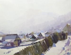 Winter Sunrise 2017 oil on canvas 65x50.