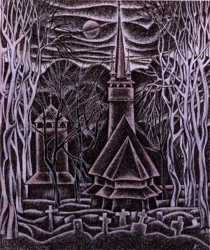 Церква у Стеблівці, 1988, пап.акв.гуаш, 20х21