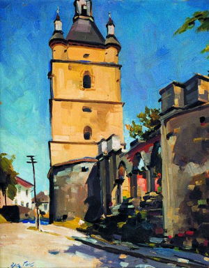 Armenian Bell Tower In Kamianets-Podilskyi, 1970, oil on cardboard, 71x66,5