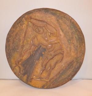 Decorative plate 'Canoeing', chamotte, firing, D=61,5