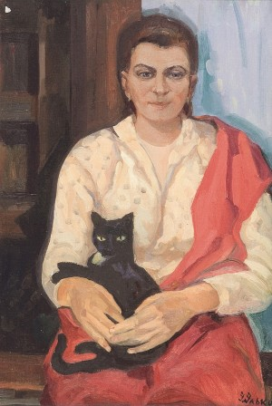 Black Cat, 1962, oil on cardboard, 75x50