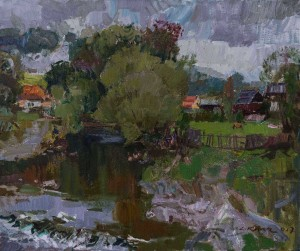 Scenery With River, Stuzhytsia Village, 2017, oil on canvas, 50x60