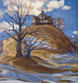 Yasinia Village. Strukivska Church, 1982, oil on canvas, 67x66