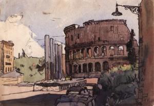 Рим. Вид на Колізей, 1964, пап. флом. акв. 30,5х43