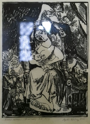Líviusz Gyulai Mary with the Child woodcut, Japanese rice paper 30х40