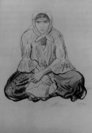 An Old Gypsy Woman, 1937, ink on paper, 54,8х37,2