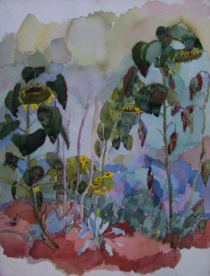 August In Mezhyrich Village. Sunflowers, 1998, pencil on paper, watercolour,  48х36