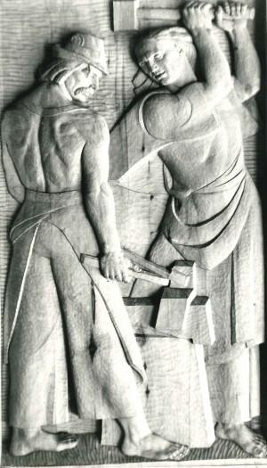 Із серії  Життя і побут закарпатців, Ковалі, 1981, дерево, 60х110