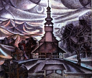 Шелестівська церква, 1981, пап.акв.гуаш, 19х23