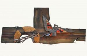 Стали крила кольору його крові, мідь, гаряча емаль, дерево, 115х50