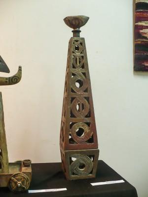 Світильник, 2011, шамот, поливи, солі, відновлення, 15х15х105