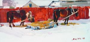 Horses, 1968, oil on cardboard, 36x69