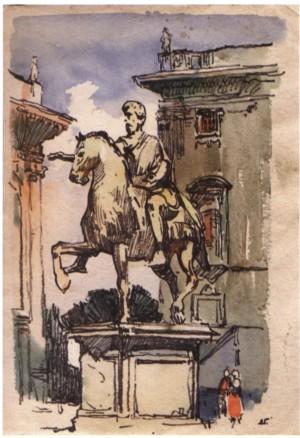 Рим. Статуя Марка Аврелія, 1964, пап. флом. акв. 43х30,5