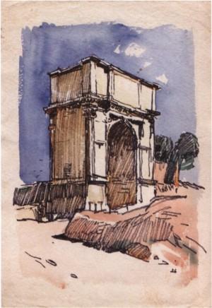 Рим. Тріумфальна арка Тіта, 1964, пап. флом. акв. 43х30,5