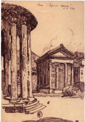 Рим. Храм Вести, 1964, пап. флом. 22.5х18,