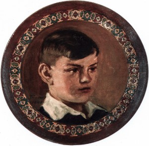 Sons Portrait, 1940s, oil on wood, D- 30.5