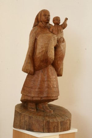 Mother From Verkhovyna, 1970, wood, round sculpture