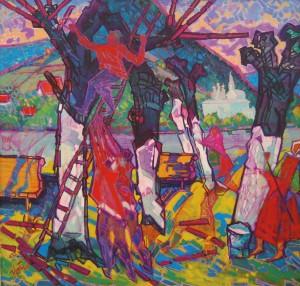 Обрізка дерев, 2010, п.о., 100х100