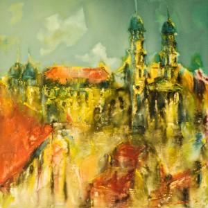Кафедральный собор в Ужгороде. 1991 г. Полотно, масло  100x100