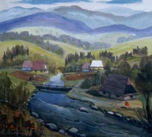 Кладка через потік, 2001, п.о., 70х60