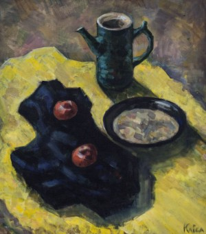 Krystyna Klisa, Still life on the yellow cloth