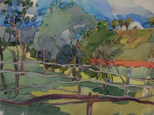 August In Mezhyrich Village. Fences And shadows. 1998, pencil on paper, watercolour, 36х48
