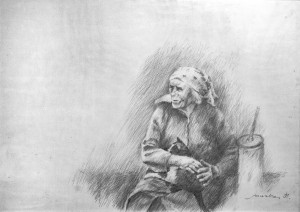 An Old Woman, 1998, oil on paper, 50x70