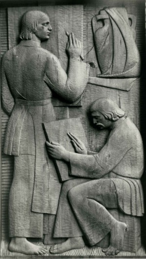 Із серії  Життя і побут закарпатців, Митці, 1981, дерево, 60х110