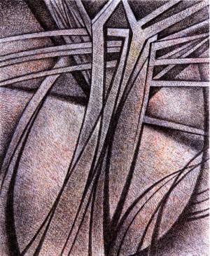 Із серії «Життя дерев», пап.акв.гуаш, 27,5х22,4