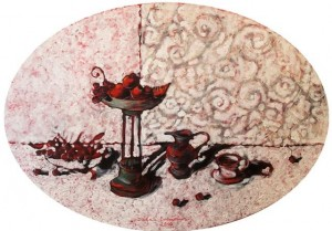 Fruit Table, 2010, oil on canvas, acrylic,  85х122 (oval)