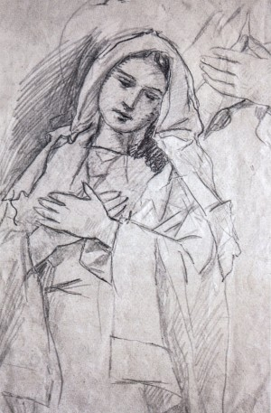 Blessed Virgin Mary (studio), 1940s, pencil on paper, 37х24,5