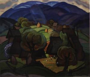 Село на Верховині. Перша пол, 1970-х, п.о. 120х140