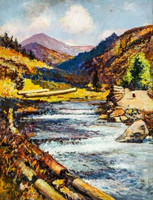 River In The Mouintains, 1953, oil on canvas, 88x66