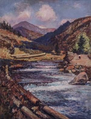 River In The Mountains, 1953, oil on canvas, 88x66
