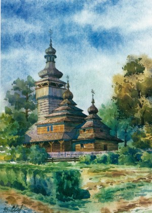 An exhibit of the Museum of Folk Architecture and Life 1995 watercolour