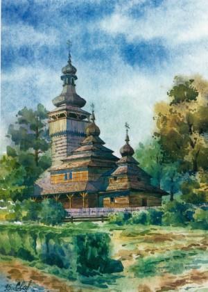 Експонат музею народної архітектури і побуту, 1995, акв.