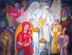 Koliada, 1993, tapestry, handmade knitting, wool, 160x220