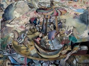 Olena and Viktor Derda. Merry-go-round, 2000, paper collage , 81x108