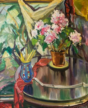 Still life With Flowers and Brushes, 1930-1940s, oil on canvas