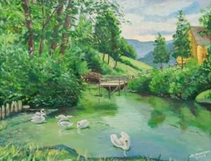 """Фурман М. """"Озеро в Царській долині. Нересниця"""", 2017,  п.о., 55,5х43,5"""