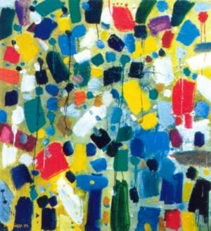 Живопис. Із серії «Дитячі спогади», 1999, пісок, зміш.техн., 140х130