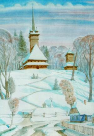 Christmas Sunset In Danylovo village, 2009, watercolour on watman, 89х62